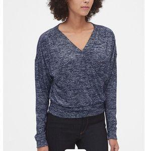 NWT Gap soft-spun wrap top, small navy blue